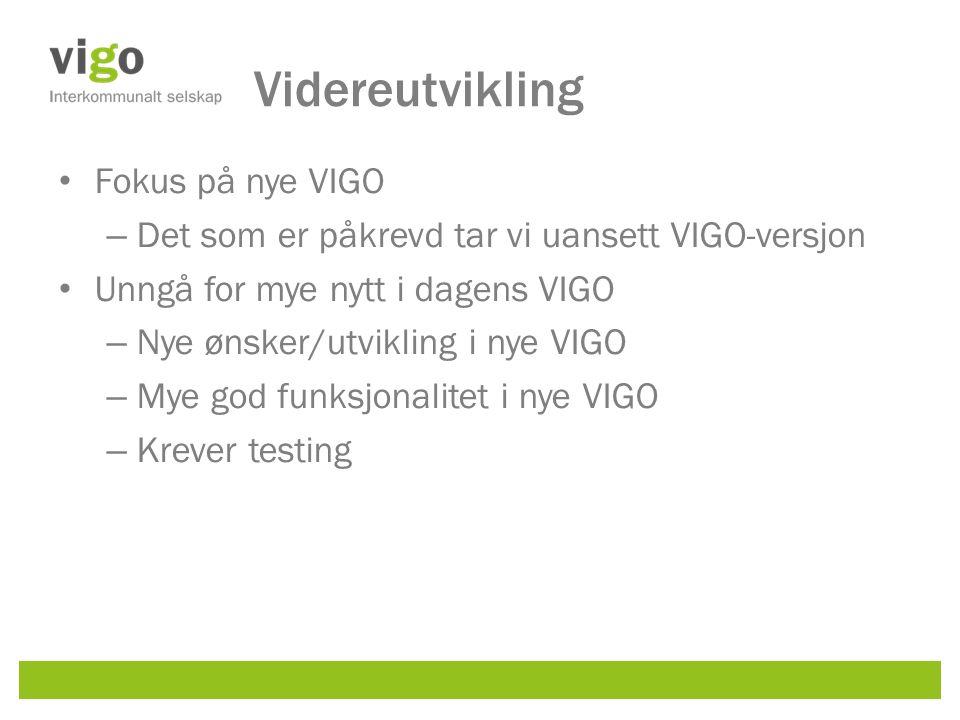Videreutvikling Fokus på nye VIGO – Det som er påkrevd tar vi uansett VIGO-versjon Unngå for mye nytt i dagens VIGO – Nye ønsker/utvikling i nye VIGO