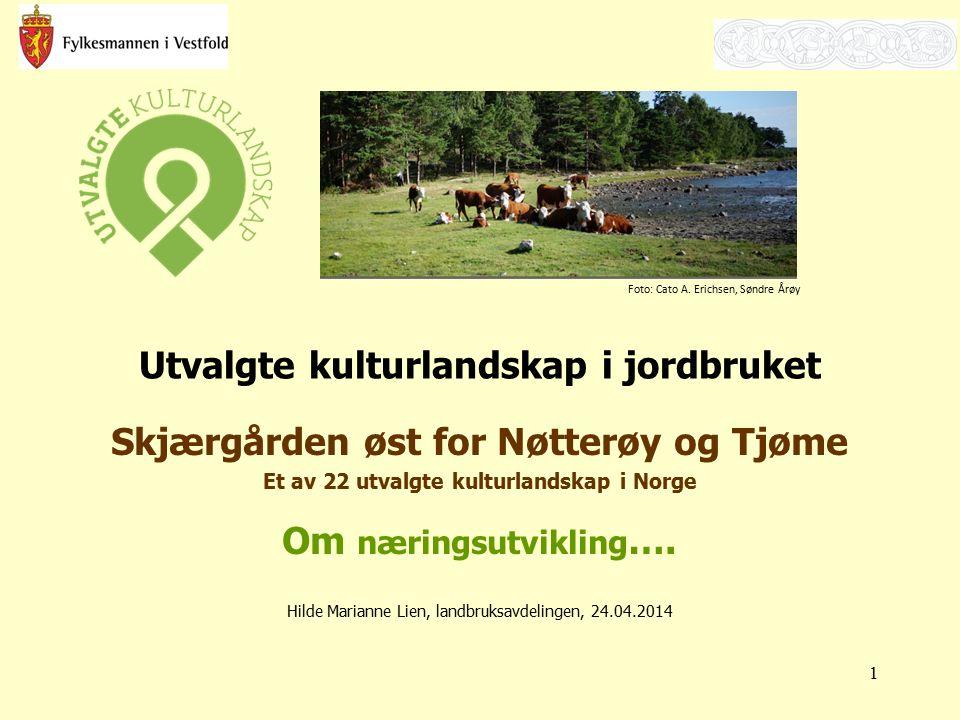 Utvalgte kulturlandskap i jordbruket Skjærgården øst for Nøtterøy og Tjøme Et av 22 utvalgte kulturlandskap i Norge Om næringsutvikling …. Hilde Maria