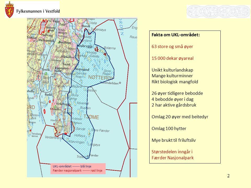 Fakta om UKL-området: 63 store og små øyer 15 000 dekar øyareal Unikt kulturlandskap Mange kulturminner Rikt biologisk mangfold 26 øyer tidligere bebo