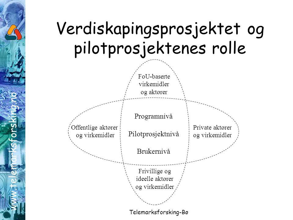 www.telemarksforsking.no Telemarksforsking-Bø Verdiskapingsprosjektet og pilotprosjektenes rolle Programnivå Pilotprosjektnivå Brukernivå Offentlige aktører og virkemidler Private aktører og virkemidler FoU-baserte virkemidler og aktører Frivillige og ideelle aktører og virkemidler