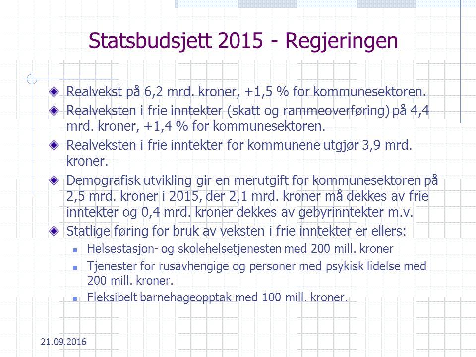 21.09.2016 Statsbudsjett 2015 - Regjeringen Realvekst på 6,2 mrd.