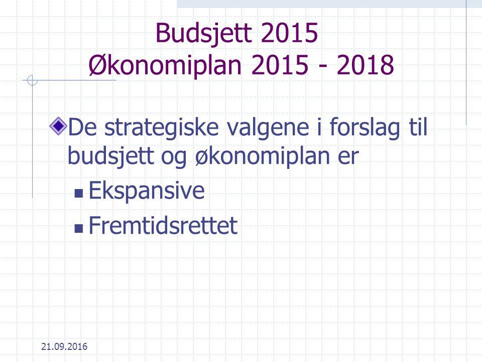 Budsjett 2015 Økonomiplan 2015 - 2018 De strategiske valgene i forslag til budsjett og økonomiplan er Ekspansive Fremtidsrettet 21.09.2016