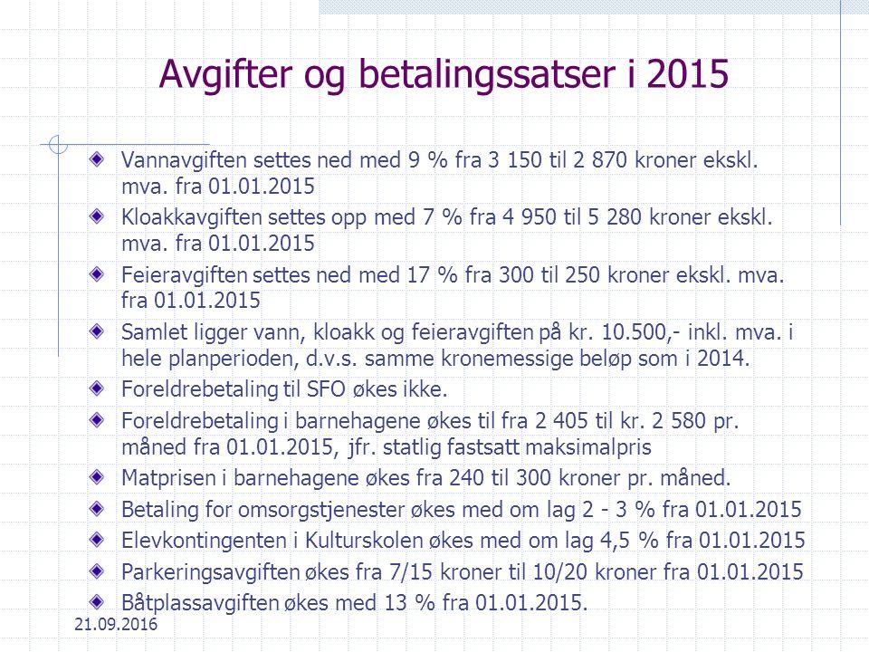 21.09.2016 Avgifter og betalingssatser i 2015 Vannavgiften settes ned med 9 % fra 3 150 til 2 870 kroner ekskl.