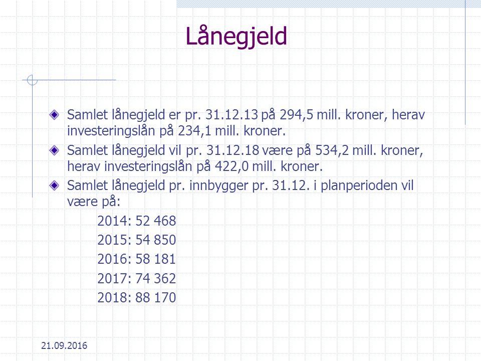 21.09.2016 Lånegjeld Samlet lånegjeld er pr. 31.12.13 på 294,5 mill.