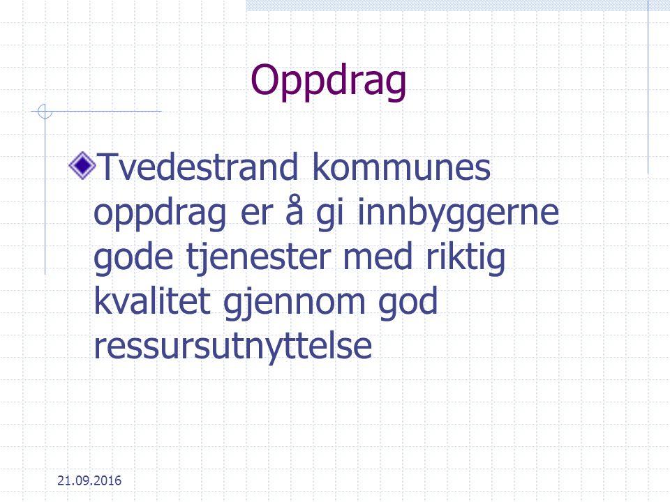 Oppdrag Tvedestrand kommunes oppdrag er å gi innbyggerne gode tjenester med riktig kvalitet gjennom god ressursutnyttelse 21.09.2016