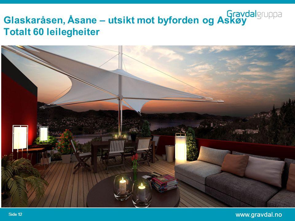 www.gravdal.no Side 12 Glaskaråsen, Åsane – utsikt mot byforden og Askøy Totalt 60 leilegheiter
