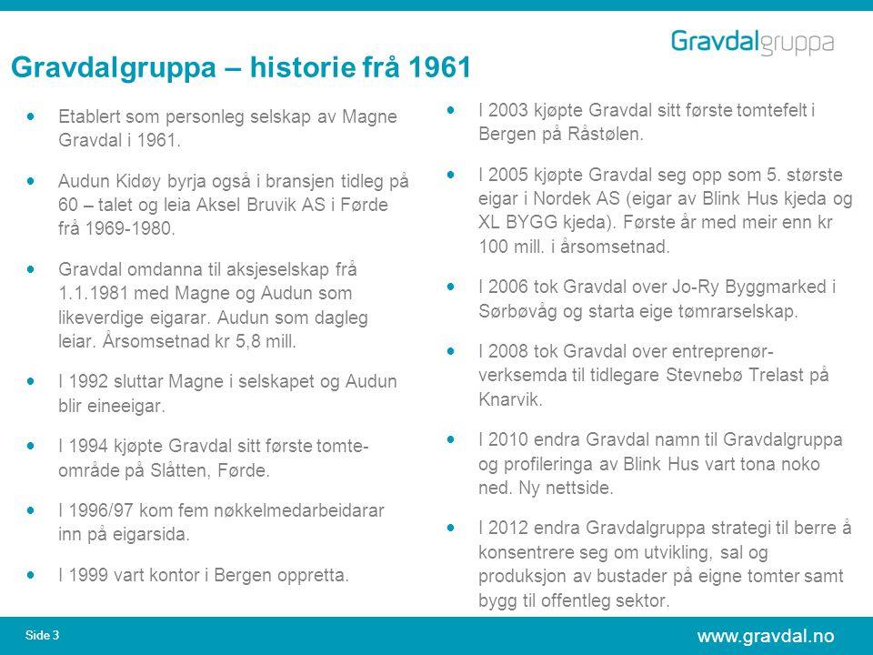 www.gravdal.no Side 3 Gravdalgruppa – historie frå 1961 Etablert som personleg selskap av Magne Gravdal i 1961. Audun Kidøy byrja også i bransjen tidl
