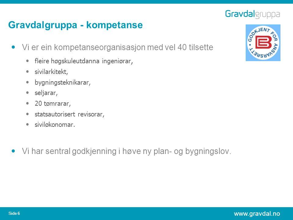 www.gravdal.no Side 6 Gravdalgruppa - kompetanse Vi er ein kompetanseorganisasjon med vel 40 tilsette fleire høgskuleutdanna ingeniørar, sivilarkitekt