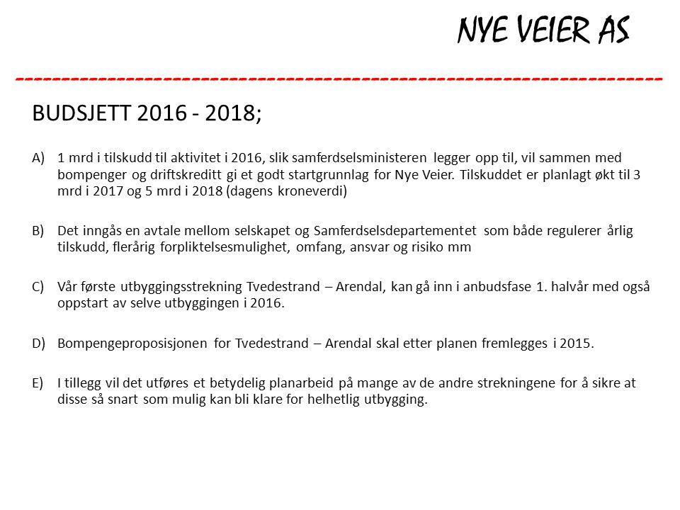NYE VEIER AS --------------------------------------------------------------------- BUDSJETT 2016 - 2018; A)1 mrd i tilskudd til aktivitet i 2016, slik samferdselsministeren legger opp til, vil sammen med bompenger og driftskreditt gi et godt startgrunnlag for Nye Veier.