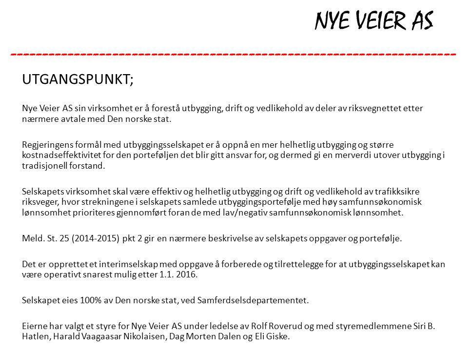 NYE VEIER AS --------------------------------------------------------------------- UTGANGSPUNKT; Nye Veier AS sin virksomhet er å forestå utbygging, drift og vedlikehold av deler av riksvegnettet etter nærmere avtale med Den norske stat.