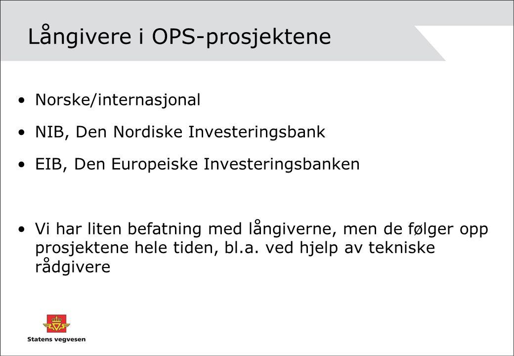 Långivere i OPS-prosjektene Norske/internasjonal NIB, Den Nordiske Investeringsbank EIB, Den Europeiske Investeringsbanken Vi har liten befatning med långiverne, men de følger opp prosjektene hele tiden, bl.a.