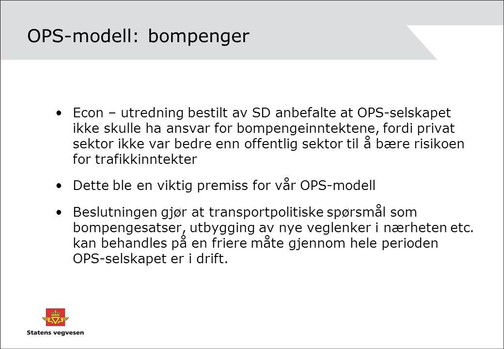 OPS-modell: bompenger Econ – utredning bestilt av SD anbefalte at OPS-selskapet ikke skulle ha ansvar for bompengeinntektene, fordi privat sektor ikke