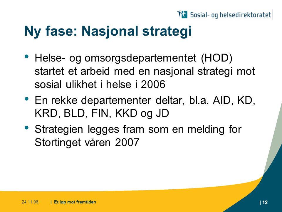 24.11.06| Et løp mot fremtiden | 12 Ny fase: Nasjonal strategi Helse- og omsorgsdepartementet (HOD) startet et arbeid med en nasjonal strategi mot sos