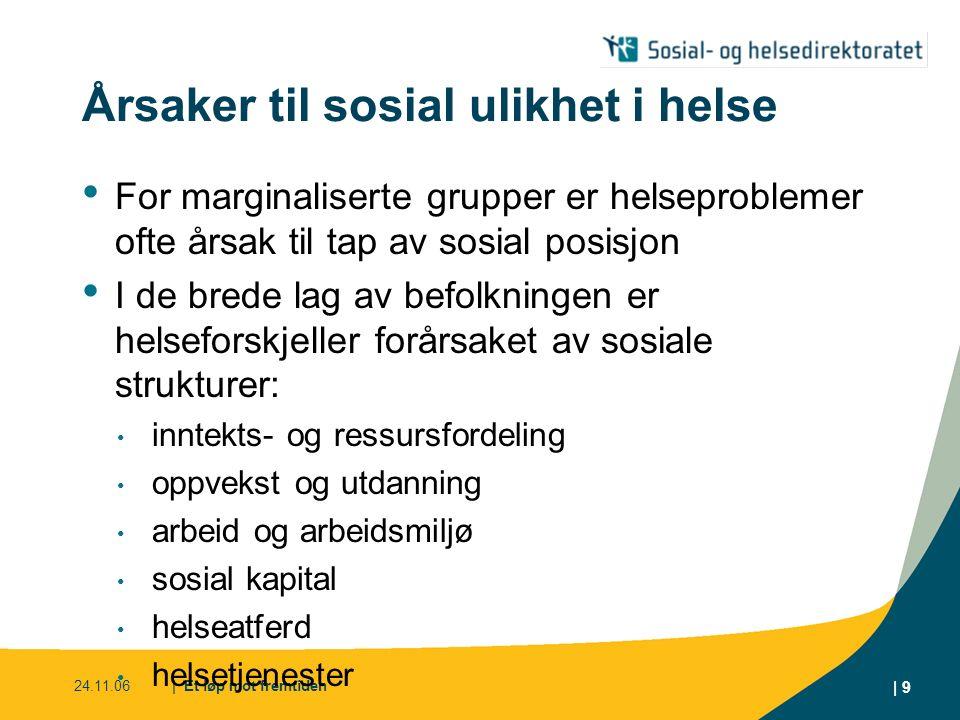 24.11.06| Et løp mot fremtiden | 9 Årsaker til sosial ulikhet i helse For marginaliserte grupper er helseproblemer ofte årsak til tap av sosial posisj