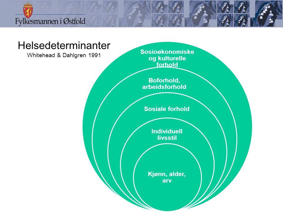 Helsedeterminanter Whitehead & Dahlgren 1991 Sosioøkonomiske og kulturelle forhold Boforhold, arbeidsforhold Sosiale forhold Individuell livsstil Kjønn, alder, arv