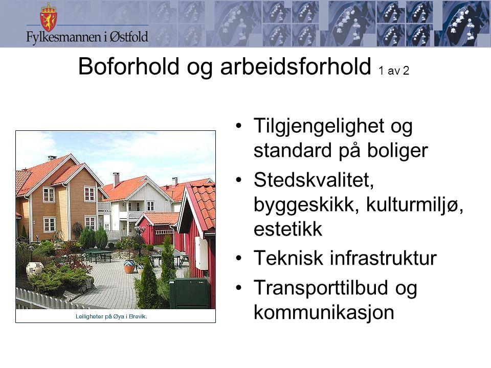 Boforhold og arbeidsforhold 1 av 2 Tilgjengelighet og standard på boliger Stedskvalitet, byggeskikk, kulturmiljø, estetikk Teknisk infrastruktur Transporttilbud og kommunikasjon