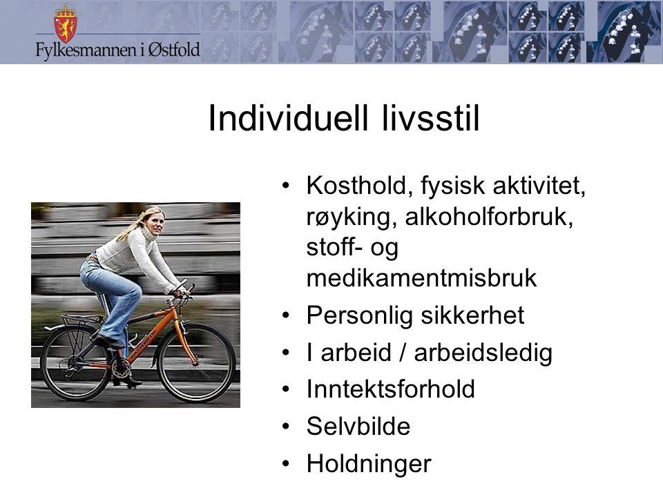 Individuell livsstil Kosthold, fysisk aktivitet, røyking, alkoholforbruk, stoff- og medikamentmisbruk Personlig sikkerhet I arbeid / arbeidsledig Inntektsforhold Selvbilde Holdninger