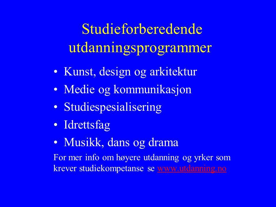 Studieforberedende utdanningsprogrammer Kunst, design og arkitektur Medie og kommunikasjon Studiespesialisering Idrettsfag Musikk, dans og drama For m