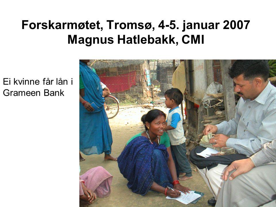 Oversikt Imperfeksjonar i den uformelle kredittmarknaden Korleis Grameen Bank kan løyse desse Potensielle effektar av Grameen Bank Målte effektar av Grameen Bank –Seleksjonsproblemet –Kvifor høg tilbakebetaling.