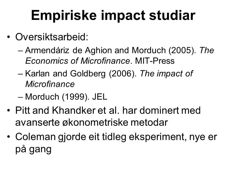 Empiriske impact studiar Oversiktsarbeid: –Armendáriz de Aghion and Morduch (2005).