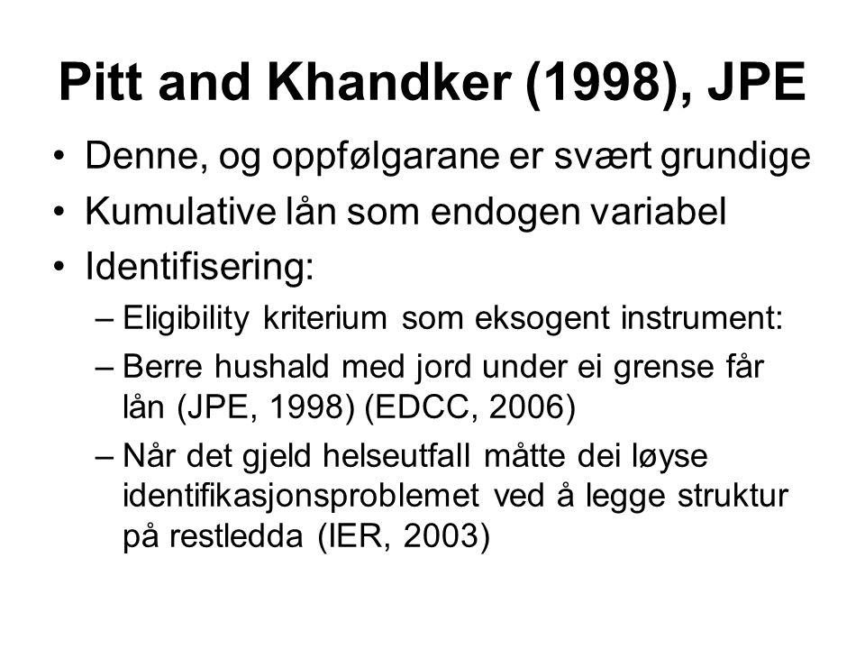 Pitt and Khandker (1998), JPE Denne, og oppfølgarane er svært grundige Kumulative lån som endogen variabel Identifisering: –Eligibility kriterium som eksogent instrument: –Berre hushald med jord under ei grense får lån (JPE, 1998) (EDCC, 2006) –Når det gjeld helseutfall måtte dei løyse identifikasjonsproblemet ved å legge struktur på restledda (IER, 2003)