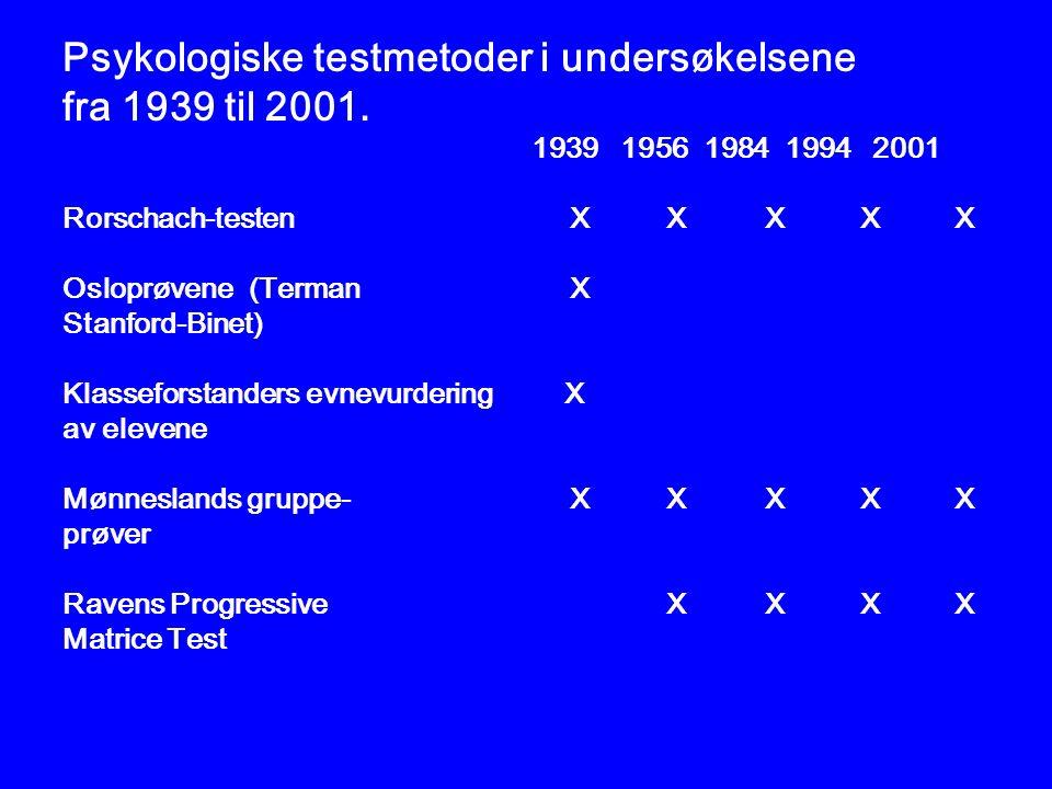 Psykologiske testmetoder i undersøkelsene fra 1939 til 2001.