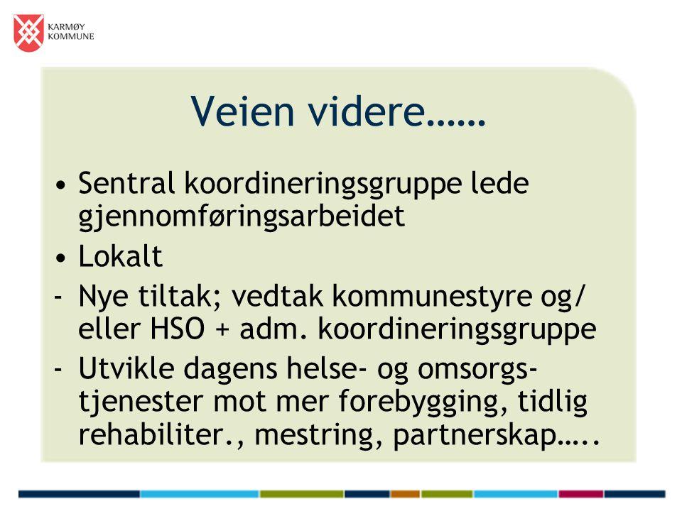 Veien videre…… Sentral koordineringsgruppe lede gjennomføringsarbeidet Lokalt -Nye tiltak; vedtak kommunestyre og/ eller HSO + adm. koordineringsgrupp
