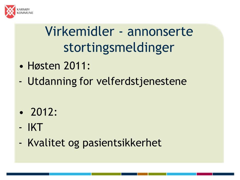 Virkemidler - annonserte stortingsmeldinger Høsten 2011: -Utdanning for velferdstjenestene 2012: -IKT -Kvalitet og pasientsikkerhet