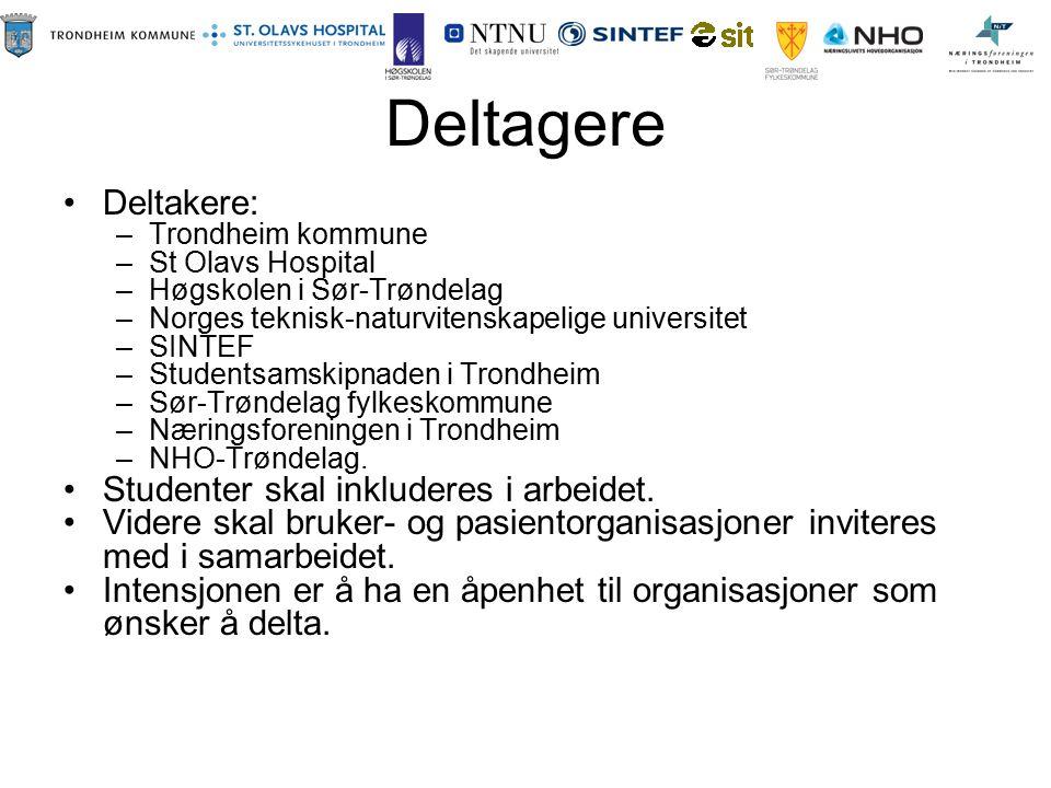 Deltagere Deltakere: –Trondheim kommune –St Olavs Hospital –Høgskolen i Sør-Trøndelag –Norges teknisk-naturvitenskapelige universitet –SINTEF –Student