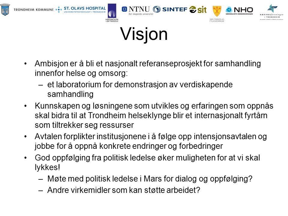 Visjon Ambisjon er å bli et nasjonalt referanseprosjekt for samhandling innenfor helse og omsorg: –et laboratorium for demonstrasjon av verdiskapende