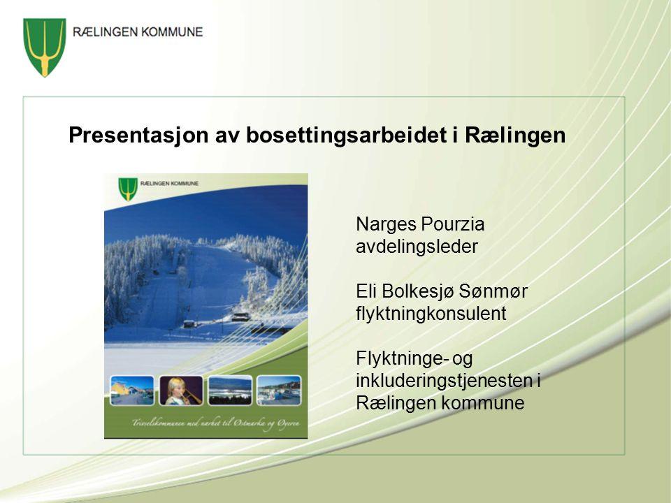 Presentasjon av bosettingsarbeidet i Rælingen Narges Pourzia avdelingsleder Eli Bolkesjø Sønmør flyktningkonsulent Flyktninge- og inkluderingstjenesten i Rælingen kommune