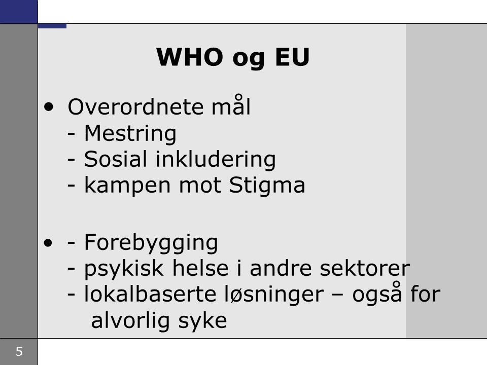 5 WHO og EU Overordnete mål - Mestring - Sosial inkludering - kampen mot Stigma - Forebygging - psykisk helse i andre sektorer - lokalbaserte løsninger – også for alvorlig syke