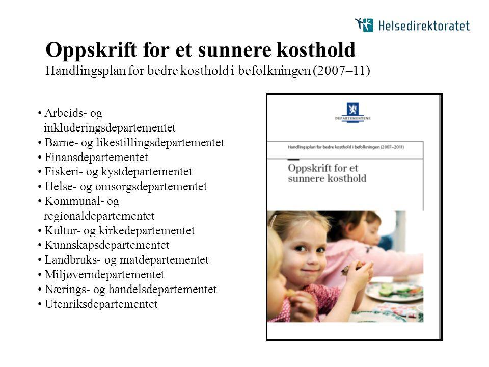Oppskrift for et sunnere kosthold Handlingsplan for bedre kosthold i befolkningen (2007–11) Arbeids- og inkluderingsdepartementet Barne- og likestilli