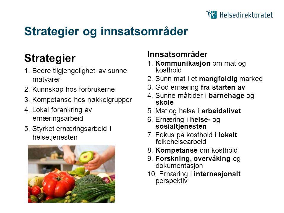 Strategier og innsatsområder Strategier 1. Bedre tilgjengelighet av sunne matvarer 2. Kunnskap hos forbrukerne 3. Kompetanse hos nøkkelgrupper 4. Loka