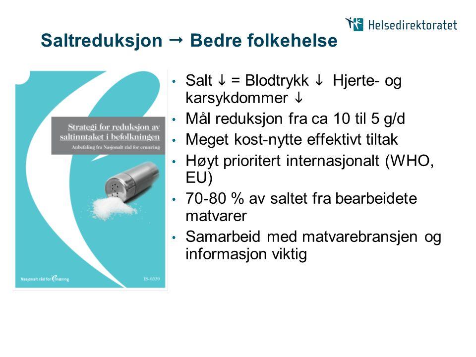 Saltreduksjon  Bedre folkehelse Salt  = Blodtrykk  Hjerte- og karsykdommer  Mål reduksjon fra ca 10 til 5 g/d Meget kost-nytte effektivt tiltak Høyt prioritert internasjonalt (WHO, EU) 70-80 % av saltet fra bearbeidete matvarer Samarbeid med matvarebransjen og informasjon viktig
