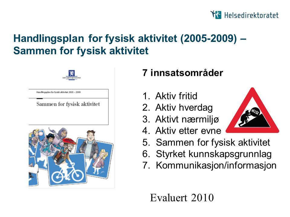 Handlingsplan for fysisk aktivitet (2005-2009) – Sammen for fysisk aktivitet 7 innsatsområder 1. Aktiv fritid 2. Aktiv hverdag 3. Aktivt nærmiljø 4. A
