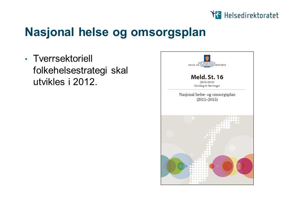 Nasjonal helse og omsorgsplan Tverrsektoriell folkehelsestrategi skal utvikles i 2012.