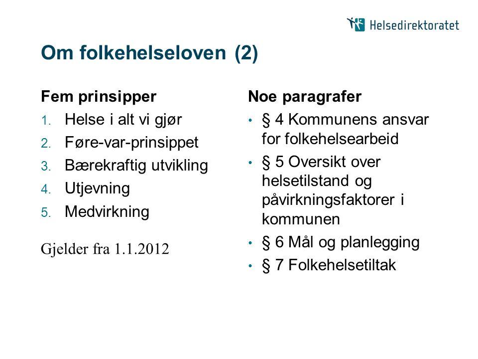 Om folkehelseloven (2) Fem prinsipper 1. Helse i alt vi gjør 2. Føre-var-prinsippet 3. Bærekraftig utvikling 4. Utjevning 5. Medvirkning Noe paragrafe