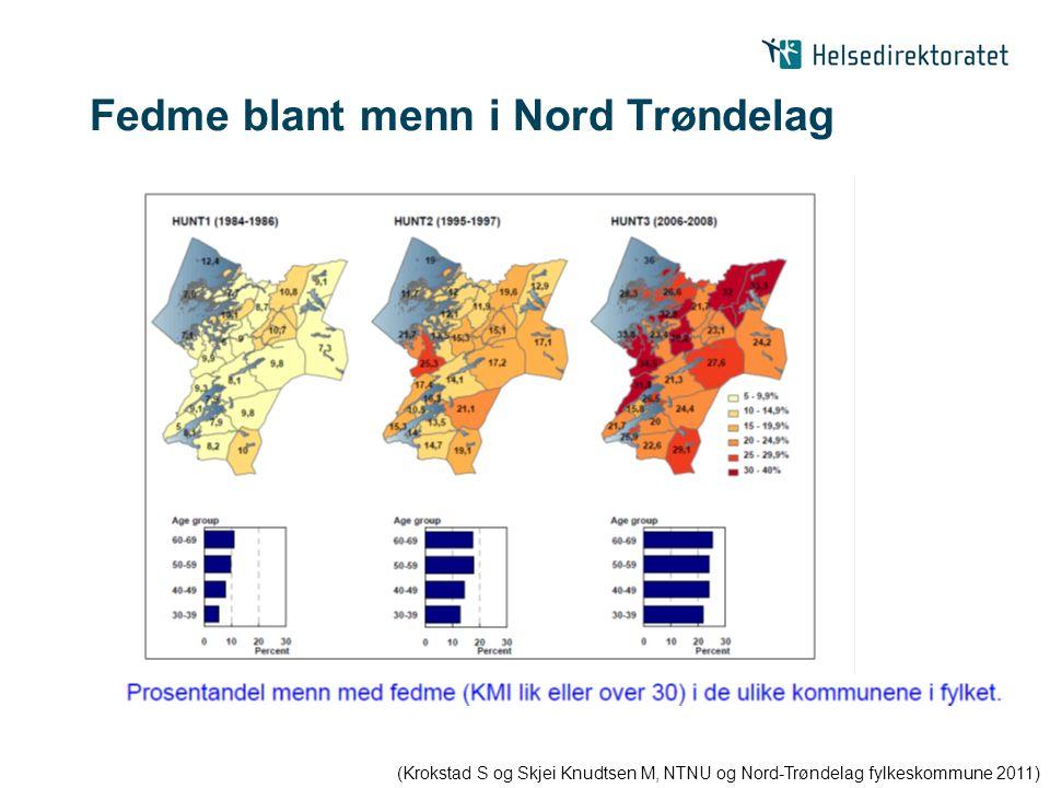 Fedme blant menn i Nord Trøndelag (Krokstad S og Skjei Knudtsen M, NTNU og Nord-Trøndelag fylkeskommune 2011)