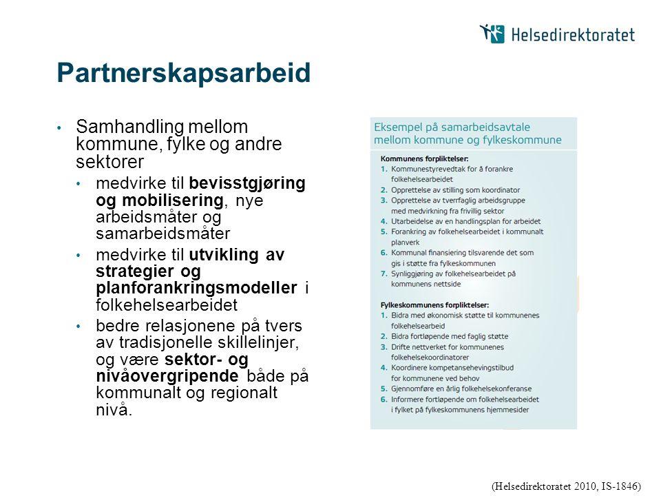Partnerskapsarbeid Samhandling mellom kommune, fylke og andre sektorer medvirke til bevisstgjøring og mobilisering, nye arbeidsmåter og samarbeidsmåte
