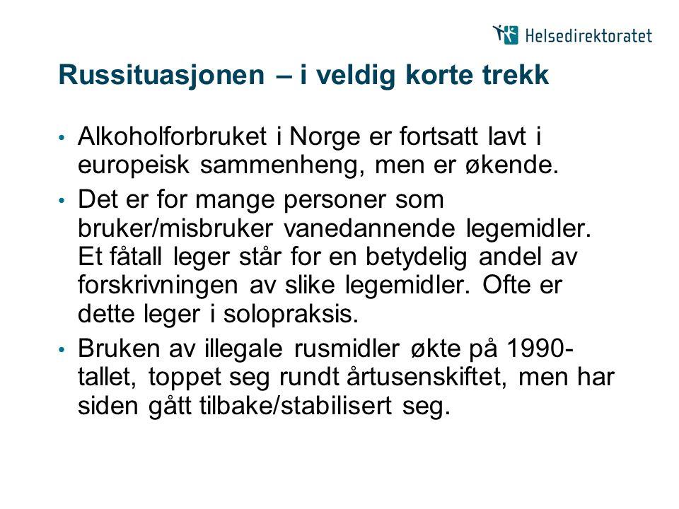 Russituasjonen – i veldig korte trekk Alkoholforbruket i Norge er fortsatt lavt i europeisk sammenheng, men er økende. Det er for mange personer som b