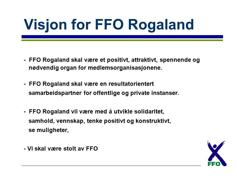 Visjon for FFO Rogaland - FFO Rogaland skal være et positivt, attraktivt, spennende og nødvendig organ for medlemsorganisasjonene. - FFO Rogaland skal