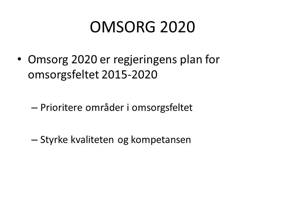 OMSORG 2020 Omsorg 2020 er regjeringens plan for omsorgsfeltet 2015-2020 – Prioritere områder i omsorgsfeltet – Styrke kvaliteten og kompetansen