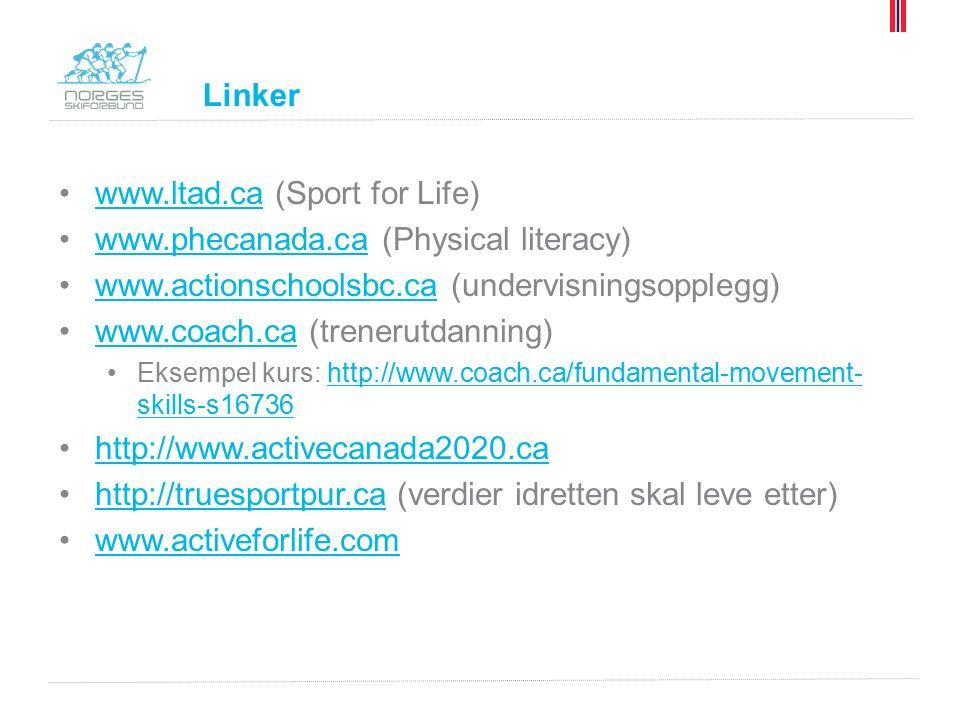 Linker www.ltad.ca (Sport for Life)www.ltad.ca www.phecanada.ca (Physical literacy)www.phecanada.ca www.actionschoolsbc.ca (undervisningsopplegg)www.actionschoolsbc.ca www.coach.ca (trenerutdanning)www.coach.ca Eksempel kurs: http://www.coach.ca/fundamental-movement- skills-s16736http://www.coach.ca/fundamental-movement- skills-s16736 http://www.activecanada2020.ca http://truesportpur.ca (verdier idretten skal leve etter)http://truesportpur.ca www.activeforlife.com