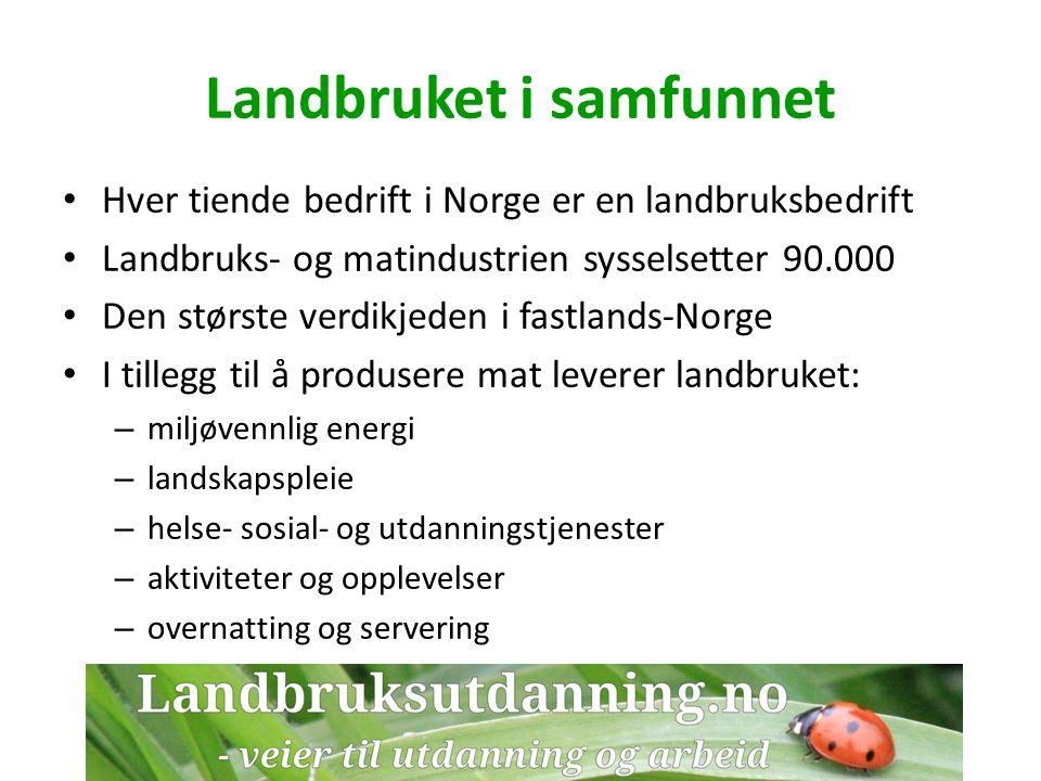 Landbruksutdanning er framtida Verden vil alltid trenge aktivt landbruk Både praktikere og akademikere i landbruket trenger god landbrukskompetanse Norge og verden trenger mange flere som velger landbruksutdanning Landbruk er ikke for amatører!