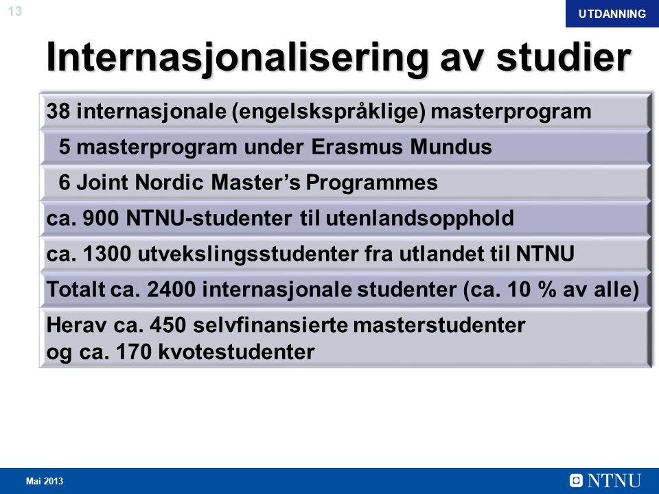 13 Mai 2013 Internasjonalisering av studier UTDANNING
