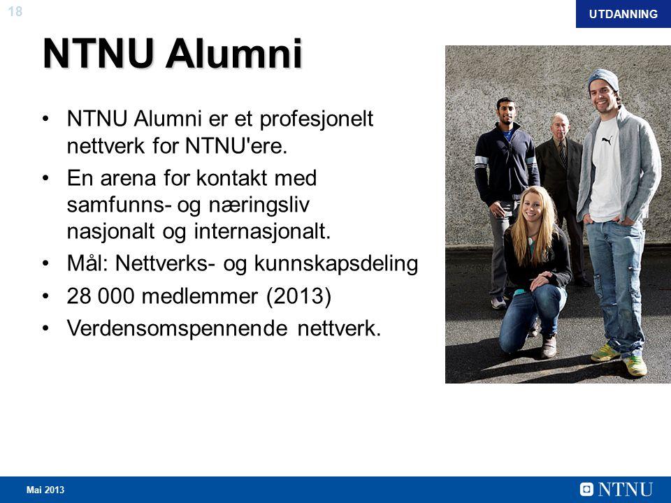 18 Mai 2013 NTNU Alumni NTNU Alumni er et profesjonelt nettverk for NTNU ere.
