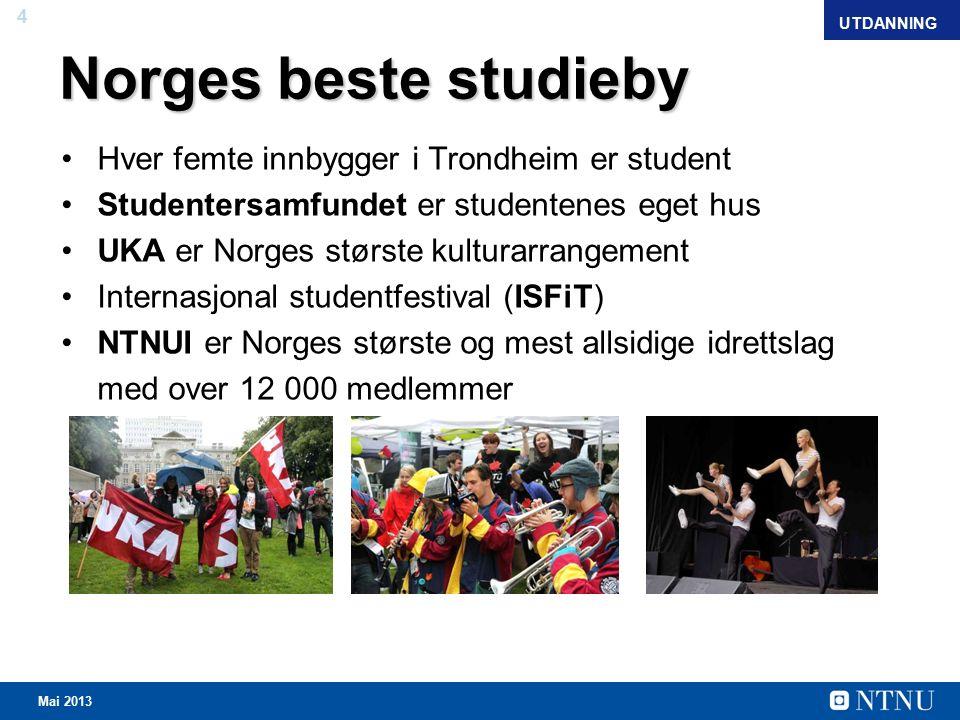 4 April 2012 Norges beste studieby Hver femte innbygger i Trondheim er student Studentersamfundet er studentenes eget hus UKA er Norges største kulturarrangement Internasjonal studentfestival (ISFiT) NTNUI er Norges største og mest allsidige idrettslag med over 12 000 medlemmer UTDANNING