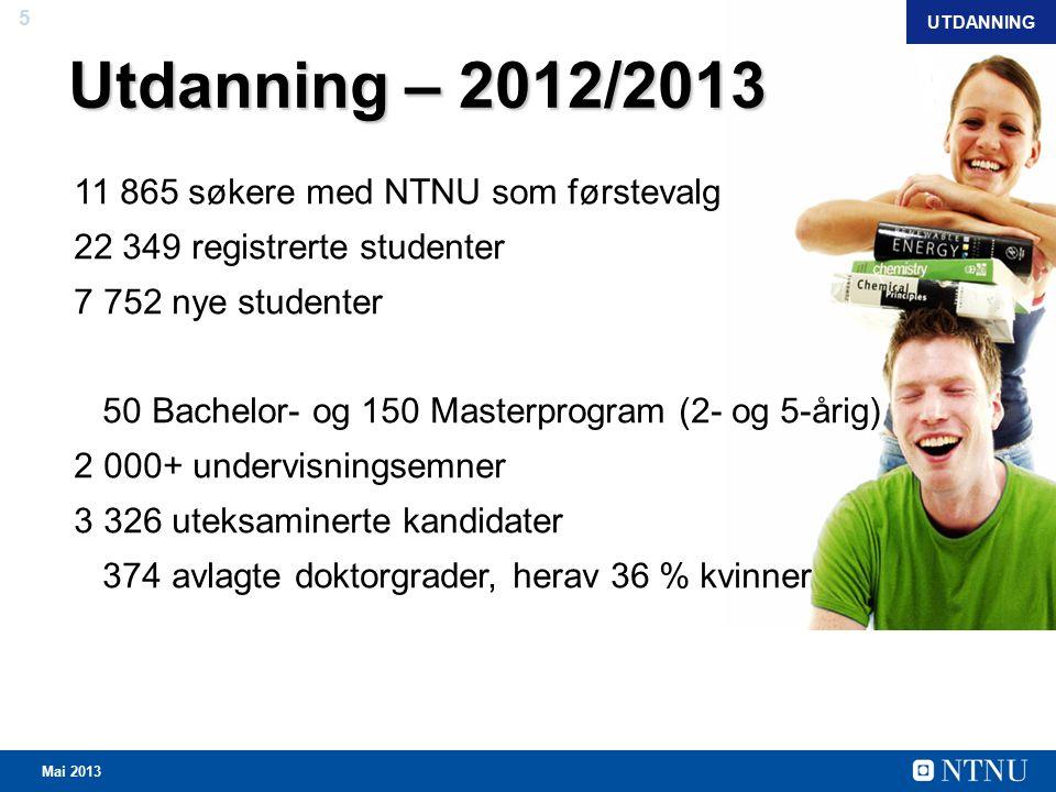 5 Mai 2013 Utdanning – 2012/2013 11 865 søkere med NTNU som førstevalg 22 349 registrerte studenter 7 752 nye studenter 50 Bachelor- og 150 Masterprogram (2- og 5-årig) 2 000+ undervisningsemner 3 326 uteksaminerte kandidater 374 avlagte doktorgrader, herav 36 % kvinner UTDANNING