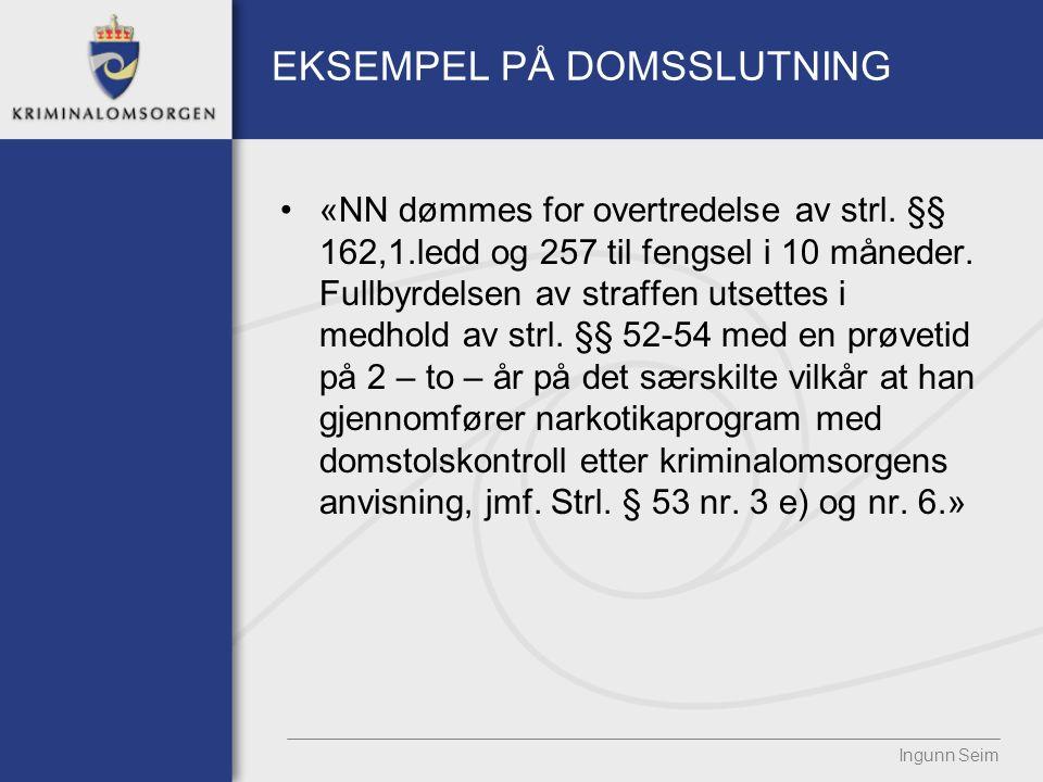 EKSEMPEL PÅ DOMSSLUTNING «NN dømmes for overtredelse av strl.